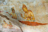 Ancient wall paintings of cloudy maidens, Sri Lanka — Stock Photo
