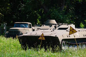 Abandoned military transport in peace nature — Stock Photo