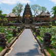 balinese temple with lotus fowers pond — Stock Photo