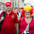 Football fans ready to go to match — Stock Photo