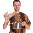 Stock Photo: Happy smiling wild mwith open stew pan