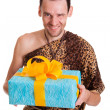 Sincere gift from wild funny man — Stock Photo #30291929