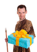 Sincere gift from wild man — Stock Photo