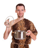 Happy smiling wild man with open stew pan — Stock Photo