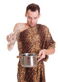 Surprise in a pan for wild man — Stock Photo
