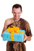 Sincere gift from wild funny man — Stock Photo