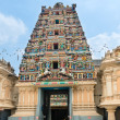 Entrance in a temple with Hindu Gods on gopuram — Stockfoto