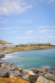 Stadium construcation on blue sea shore — Foto Stock
