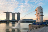 Singapore modern landmarks at dawn — Stock Photo