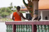 Man in dress of Buddhist monk in a temple — Stock Photo
