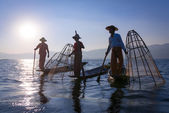Traditional fishing by net in Burma — Stock Photo