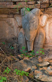 Elephant image in ancient Burmese Buddhist pagodas  — Stock Photo