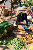 Burmese traditional open market with vegetable and fruit — Stock Photo