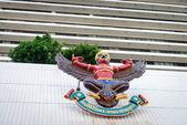 Garuda mythical bird image on the facade of Bangkok Bank — Stock Photo