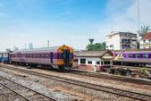 Trains stand at railway transport interchange  — Stockfoto