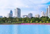 Modern city skyline of living district near park and lake — Stock Photo