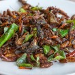 Fried edible insects mix on white plate — Stock Photo