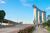 Marina Bay Sands view from Bayfront Ave bridge. — Stock Photo