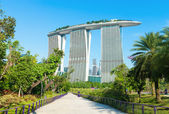 Marina Bay Sands back view from Gardens by the Bay — Stock Photo