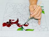 Batik painting with brush  — Stock Photo