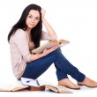 Charming young woman with books — Stock Photo #8985822
