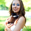 Caucasian girl with cute kitten — Stock Photo #12326263
