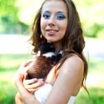 Caucasian girl with cute kitten — Stock Photo #12326263