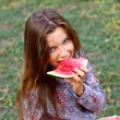 Smiling girl with watermelon — Stock Photo