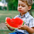 Stock Photo: Caucasian little boy eats a slice of watermelon
