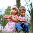 Two pretty kids with watermelon — Stock Photo