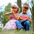 Stock Photo: Two pretty kids with watermelon
