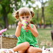 Caucasian little girl drinking tea — Stock Photo