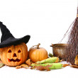 Royalty-Free Stock Photo: Halloween pumpkin, hat, corn, broom, leaf and pot isolated over