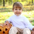 Portrait of a little smiling boy with two halloween pumpkins — Stock Photo