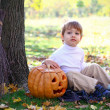 Little boy with halloween pumpkin and a broom sitting near a tre — Stock Photo #13926986