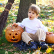Surprised little boy with halloween pumpkins and a broom sitting — Stock Photo