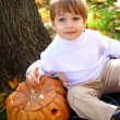 Happy little boy with halloween pumpkin sitting near a tree — Stock Photo