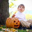 Little boy with halloween pumpkin and a broom — Stock Photo