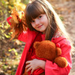 Little girl in the autumn forest with maple leaves and teddy — Stock Photo