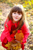 Surprised little girl with maple leaves and teddy bear in the au — Stock Photo