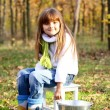 Royalty-Free Stock Photo: Little girl with a taburet and a bucket in the autumn forest