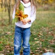 Little girl in the autumn forest with a bucket and maple lea — Stock Photo