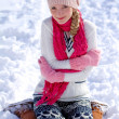 Portrait of winter girl in the snow outdoors — Stock Photo