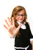 Business girl with glasses making the sign five or hello isolate — Stock Photo