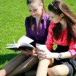 Two students relaxing on the grass — Stock Photo