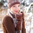 Winter girl basking outdoors — Stock Photo #16945499
