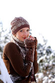 Portrait of frozen girl outdoors — Stock Photo