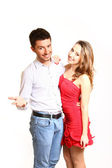 Happy young couple isolated on white background — Stock Photo