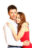 Romantic happy young couple isolated on white background — Stock Photo