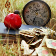 Cards, apple, snail and a book on the grass outdoors — Stock Photo